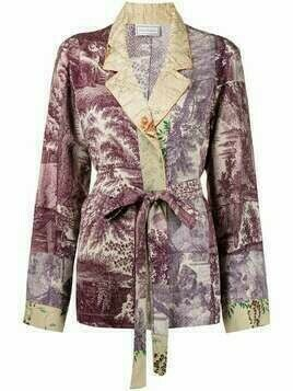 Pierre-Louis Mascia short contrast-panel bath robe - Purple