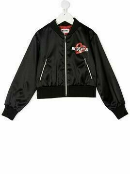 Moschino Kids logo-print bomber jacket - Black