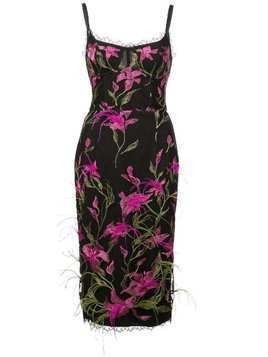 Marchesa Notte embroidered floral dress - Black