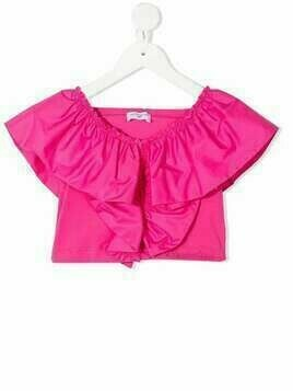 Monnalisa ruffle-trimmed cotton top - Pink