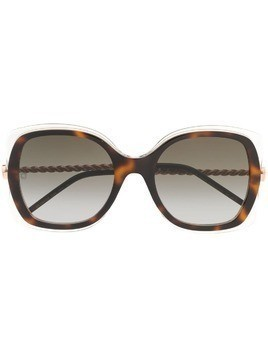Elie Saab oversized frame sunglasses - Brown