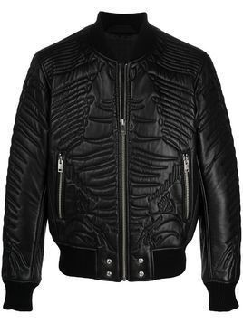Diesel quilted zipped bomber jacket - Black