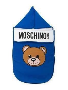 Moschino Kids teddy bear print sleeping bag - Blue