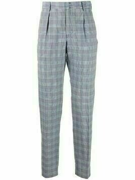 Incotex check-print tapered-fit trousers - Blue