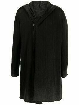Masnada long hooded cotton cardigan - Black