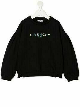 Givenchy Kids iridescent logo print sweater - Black