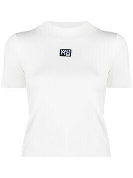 Alexander Wang logo-patch mock-neck T-Shirt - White