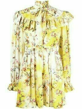 MSGM ruffled floral dress - Yellow