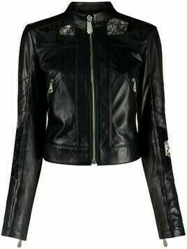 Philipp Plein lace-embellished leather jacket - Black