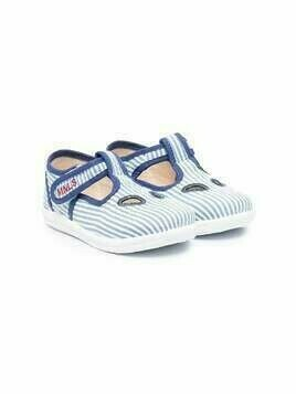 Monnalisa striped ballerina shoes - White