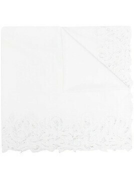 Faliero Sarti lace-trimmed cotton-blend scarf - White