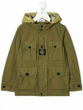 Stone Island Junior logo-patch hooded jacket - Green