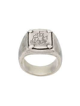 Henson engraved ship signet ring - Metallic