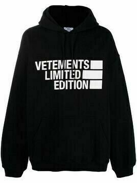 Vetements oversized logo-print hoodie - Black