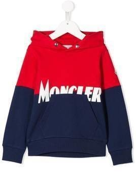 Moncler Kids colour block hoodie - Red