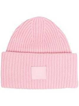 Acne Studios face-patch knitted beanie - PINK