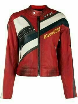 Diesel distressed-effect biker jacket - Red