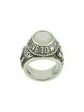AMBUSH stone-detail engraved ring - SILVER