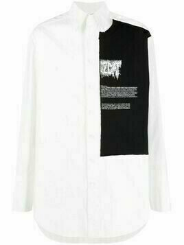 Yang Li graphic-panelled cotton shirt - White