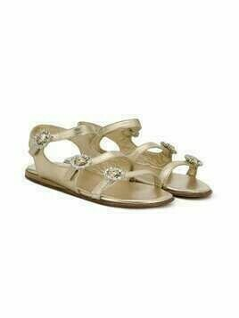 Mi Mi Sol TEEN crystal buckle sandals - Metallic