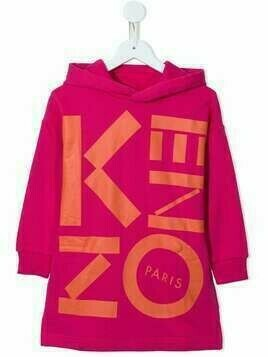Kenzo Kids logo print hooded dress - PINK