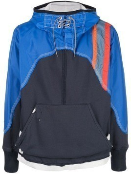 Greg Lauren contrast hooded sweatshirt - Blue