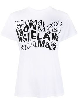 Maison Margiela distorted logo-print T-shirt - White