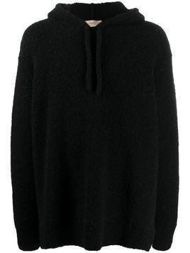 Maison Flaneur knitted drawstring hoodie - Black