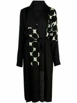 Masnada polka-dot print wrap coat - Black