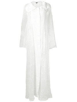 Ann Demeulemeester embroidered draped coat - White