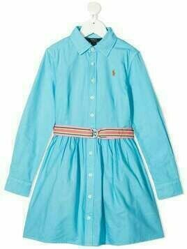 Polo Ralph Lauren Polo Pony embroidered long-sleeved dress - Blue
