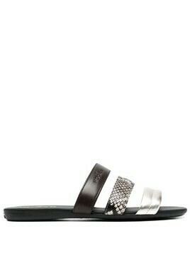 Hogan Valencia contrast leather-strap sandals - Brown