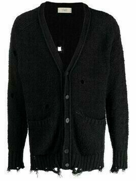 Maison Flaneur ripped knitted cardigan - Black