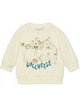 Gucci Kids Guccheese animal-print sweatshirt - White