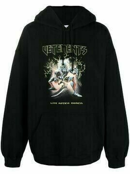 Vetements logo-print cotton hoodie - Black