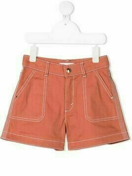 Chloé Kids contrast stitching detail shorts - Brown