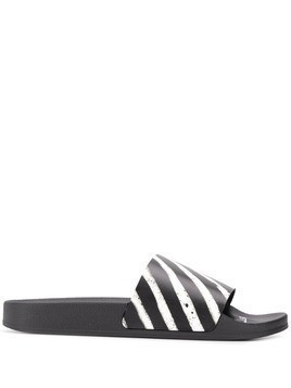 Off-White diagonal stripe pool slides - Black