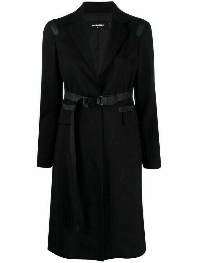 Dsquared2 single-breasted belted wool coat - Black