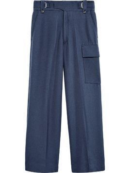 Mackintosh 0003 Navy Virgin Wool Blend 0003 Waisted Trousers - Blue