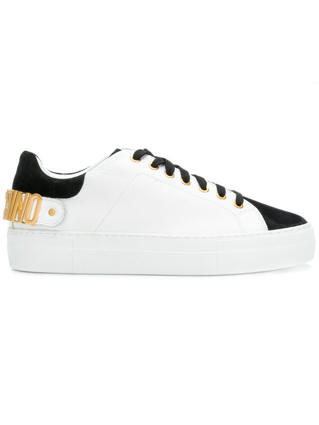 Moschino logo plaque sneakers - White