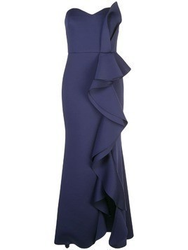 Badgley Mischka empire line frilled dress - Blue