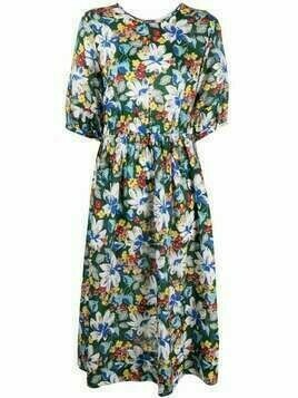YMC floral-print flared dress - Green