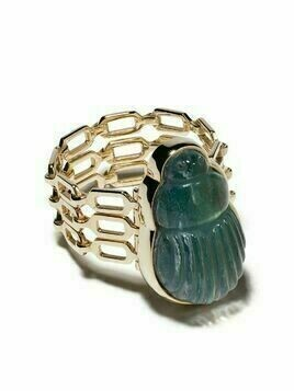 Lito 14kt yellow gold big Sienna labradorite scarab and diamond triple chain ring