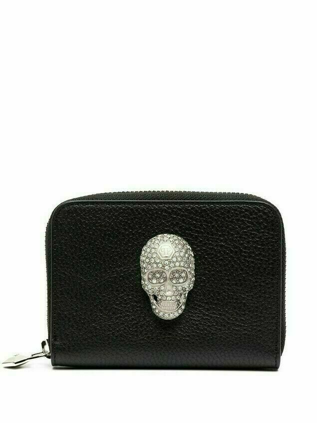 Philipp Plein skull-detail zip-up purse - Black