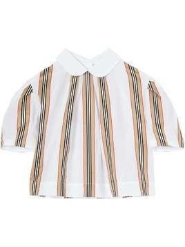 Burberry Kids Icon-stripe short sleeved blouse - White