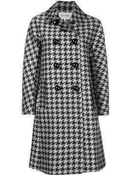 Dice Kayek double breasted houndstooth coat - Black