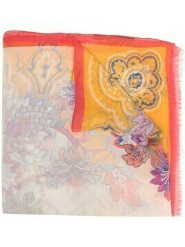 Etro floral-print silk scarf - Orange