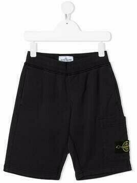 Stone Island Junior logo-patch track shorts - Blue