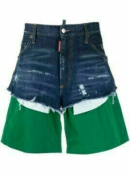 Dsquared2 distressed layered denim shorts - Blue