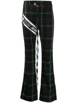 Mia-iam check print flared trousers - Green
